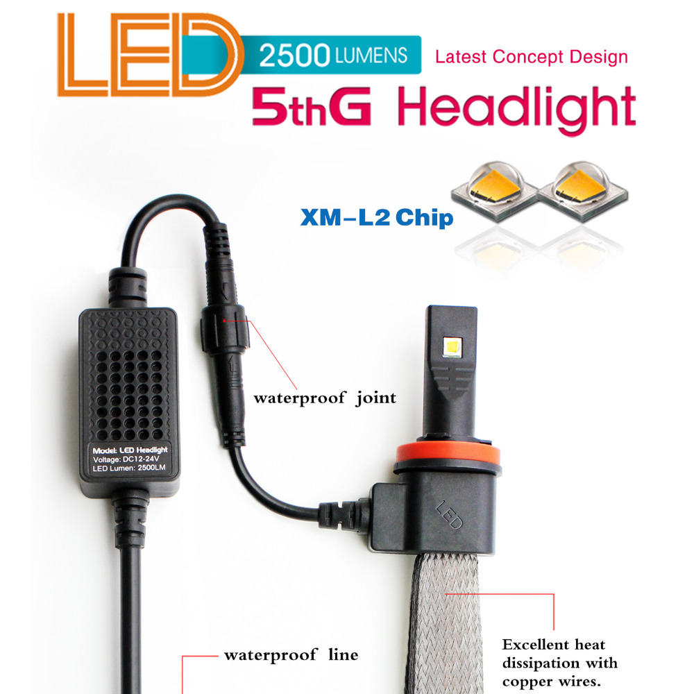 ФОТО Clearance Sale!! 5HL H8 H9 H11 White 6000K Car LED Headlight Conversion Lamp Kit XM_L2 CR Chips No Fan LED