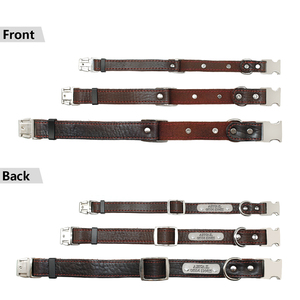 Image 3 - Collar personalizado de piel auténtica para perro, placa con nombre para cachorro, Collar ajustable libre, etiquetas de identificación de mascota grabadas para perros pequeños y medianos