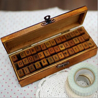 Creative Uppercase And Lowercase Letter Wooden Rubber Scrapbooking Stamp Gift Wooden Box