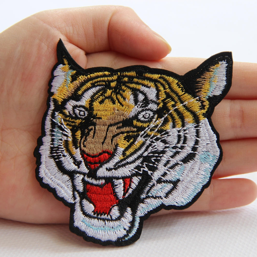 DIY Tiger Animal Embroidered Sew On Iron On Patch Badge Bags Fabric Applique New