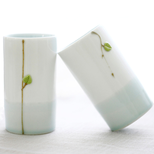 30838963be8 Set of 2 Unique Ceramic Cups Lover Couple Mugs Chinese Style Porcelain  Water Cup Coffee Tea