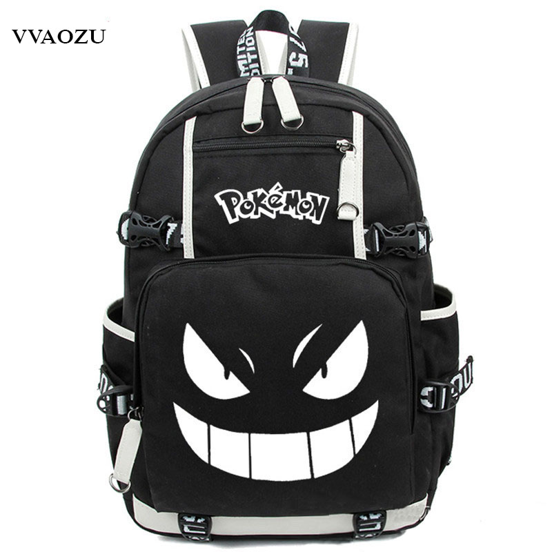 Anime Luminous Printing Backpack Pokemon Gengar Cosplay Backpacks School Bags For Teenager Girls Boys Mochila Feminina