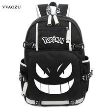 Anime Leucht Druck Rucksack Pokemon Gengar Cosplay Rucksäcke Schultaschen für Teenager Mädchen Jungen Mochila Feminina