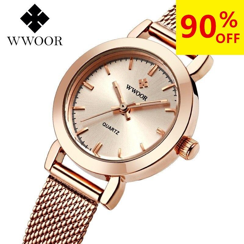 WWOOR женское платье часы Элитный бренд дамы кварцевые часы Нержавеющаясталь сетка Группа Повседневное золотой браслет наручные часы reloj mujer