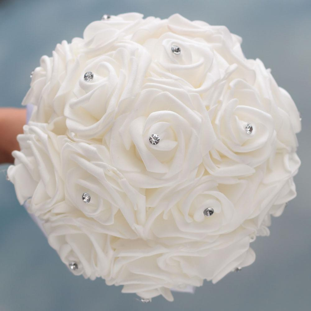 Купить с кэшбэком In Stock Pure White Diamond Ribbon Bouquet PE Flower Foam Wedding Bouquet Ivory Cream PE Rose De Mariage Wedding BouquetsW2018