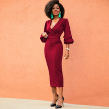 Dower Me Sexy Faux Wrap Burgundy Deep V Neck Puff Sleeve Midi Vestidos  Party Dresses 031eab61a