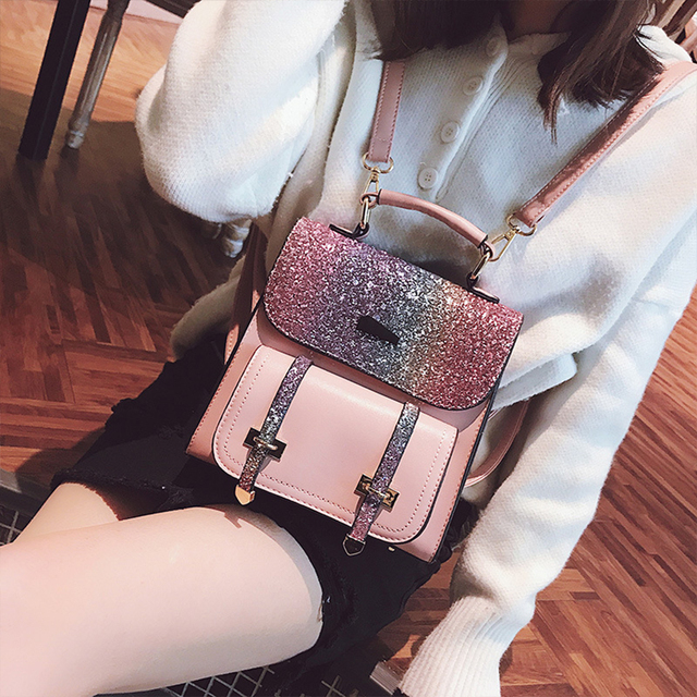a8d982b2051c US $16.99 48% OFF|Fashion Sequins PU Leather Girls School Bag Small  Hologram Laser Backpack School Bags For Teenage Women Travel Shoulder Bags  New-in ...