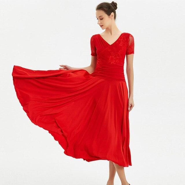 2003626e2 red standard ballroom dress women social dress spanish flamenco ...