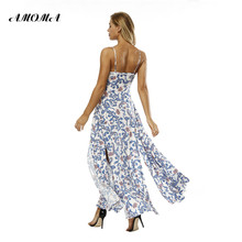 AMOMA Floral Print Summer Long Dress Sleeveless Spaghetti Strap Split Backless Beach Maxi Dresses Bohemian Vestidos