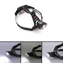 Newest 4000Lm Led Lighting Head Lamp T6+2R2 LED Headlamp Headlight Camping Fishing Light+US/EU Charger+Car Charger+Battery Bag