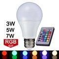 Новое поступление из светодиодов RGB лампочка E27 110 В 220 В из светодиодов гамма лампы 3 Вт 5 Вт 7 Вт с дистанционным управлением Lampara A65 A70 A80