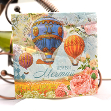 Cocktail napkin-33x33cm 2-ply napkin paper for decoupage, fire balloon napkins decoupage serviettes цена и фото