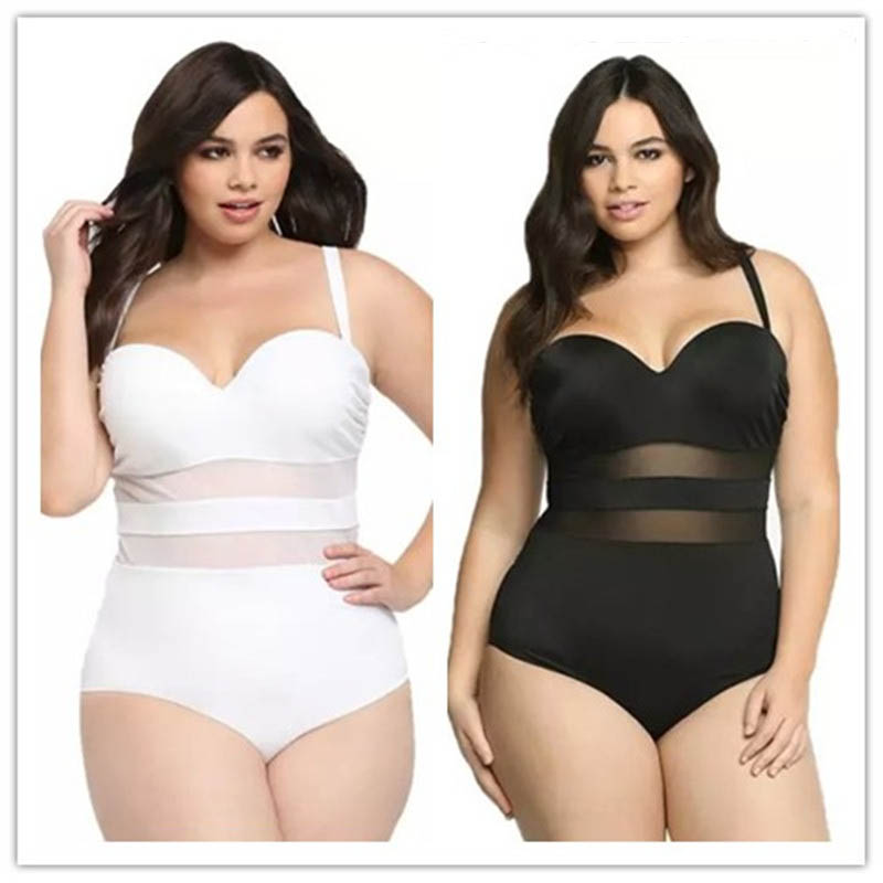 One Piece Swimsuit XXL XXXL Large Size Swimwear Bathing Suit Women Plus Size Swimsuit Black White Mesh Big Women Sexy Monokini