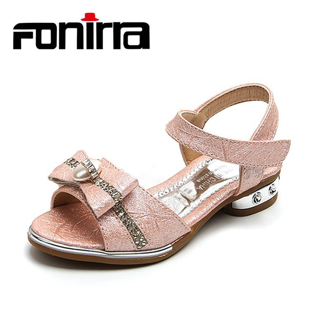 Latest Fashion Girls Little Heel Sandals Simple Beautiful Fancy Children s Flat  Sandals With Bowknot Kids Summer Sandal 374