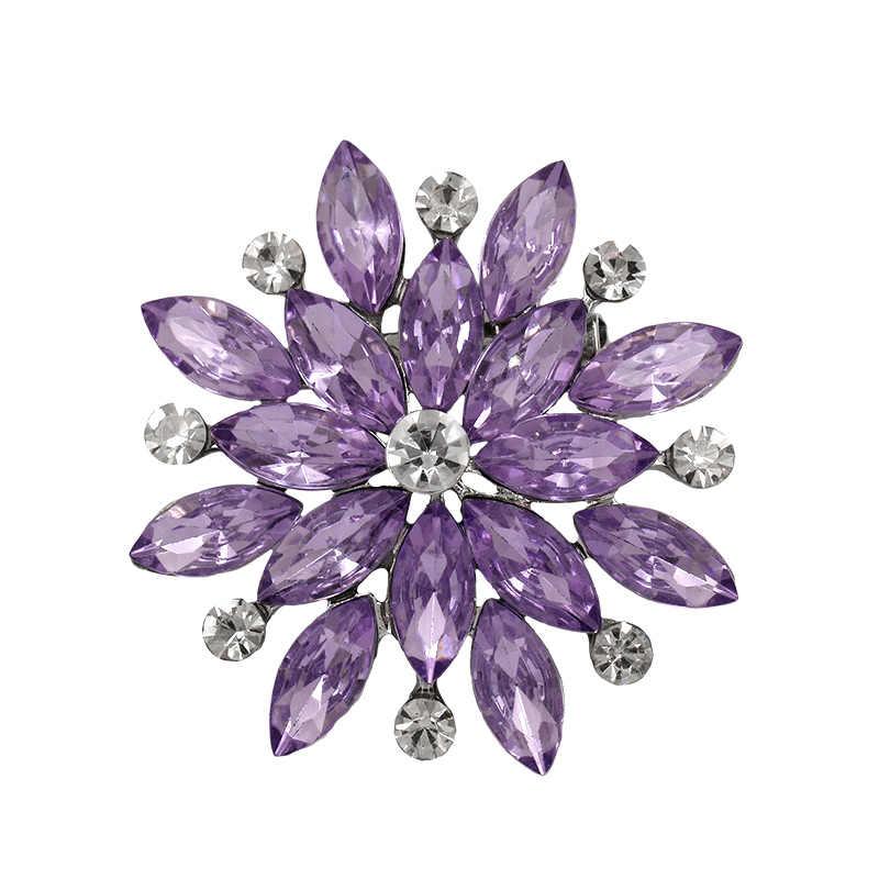 MIEG ยี่ห้อคริสตัล Rhinestones ดอกไม้เข็มกลัดผู้หญิง Bijoux Pins จัดงานแต่งงาน Aceessories เครื่องประดับ