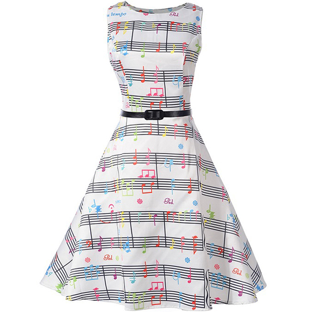 Summer New Sleeveless Color Note Print Big Swing Dress With Belt 50s Robe Vintage Retro Pin Up Polka Rockabilly
