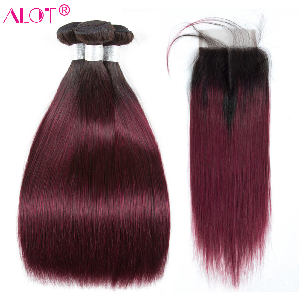 1B 99J Ombre Bundles With Closure Brazilian Straight Hair With Closure Dark Burgundy Remy Human Hair