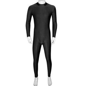 Image 2 - IIXPIN Mens בלט Dancewear מחליפות שחיית בגד גוף בכושר טוב אחד חתיכה מוק צוואר ארוך שרוול עור צמוד בגד גוף בגד גוף בלט רקדנית