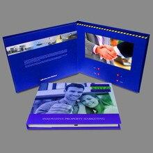 Özel yapılmış ciltli 7 inç ekran broşürü evrensel Video tebrik kartları moda tasarımı Video reklam kartları