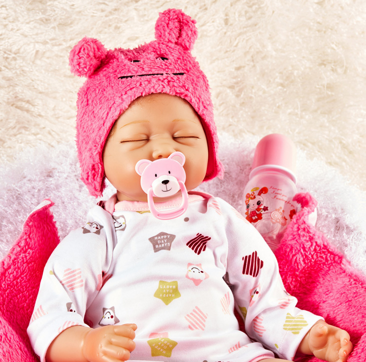Lifelike Girl Reborn Doll 22 Inch Realistic Silicone Real Touch Newborn Babies Toy with Clothes Kids Birthday Xmas Gift