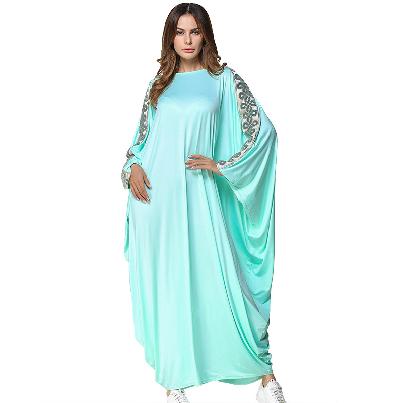 R185231# Muslim Women Fashion Solid Color Mosaics Bats Sleeves Dresses and Middleeast Gown Robes Arabia Abaya Mujer Vestidos
