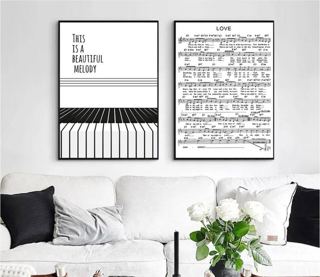 2017 new nordic simple piano letter canvas art print poster wall
