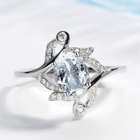 Solid 14k White Gold Ring for Women 5X7MM Oval Cut Natural Aquamarine Diamonds Engagement Ring Anniversary Valentine's Gift