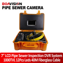 40m Fiber Glass Cable Waterproof Industrial Sewer Pipe Pipeline Inspection Underwater Camera 12Pcs Leds with 7″ LCD monitor