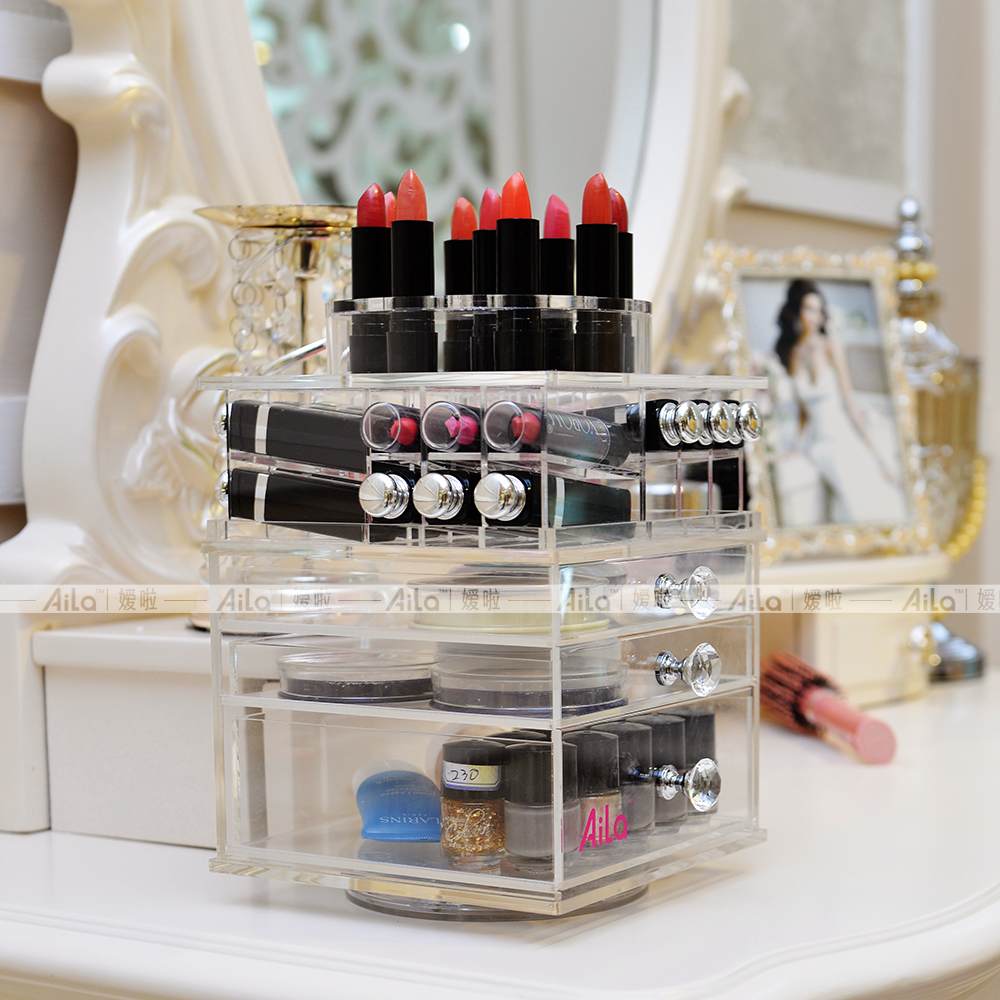 Aila Clear Acrylic Rotating Lipstick Compact Nail Polish Holder Makeup Organizer Transparent Desktop Display Stand