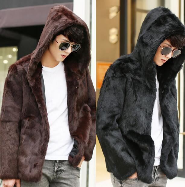 С капюшоном теплый Искусственного меха кролика пальто мужские кожаные куртки мужчины jaqueta де couro пальто Ворсин осень зима тепловой верхняя одежда M-3XL