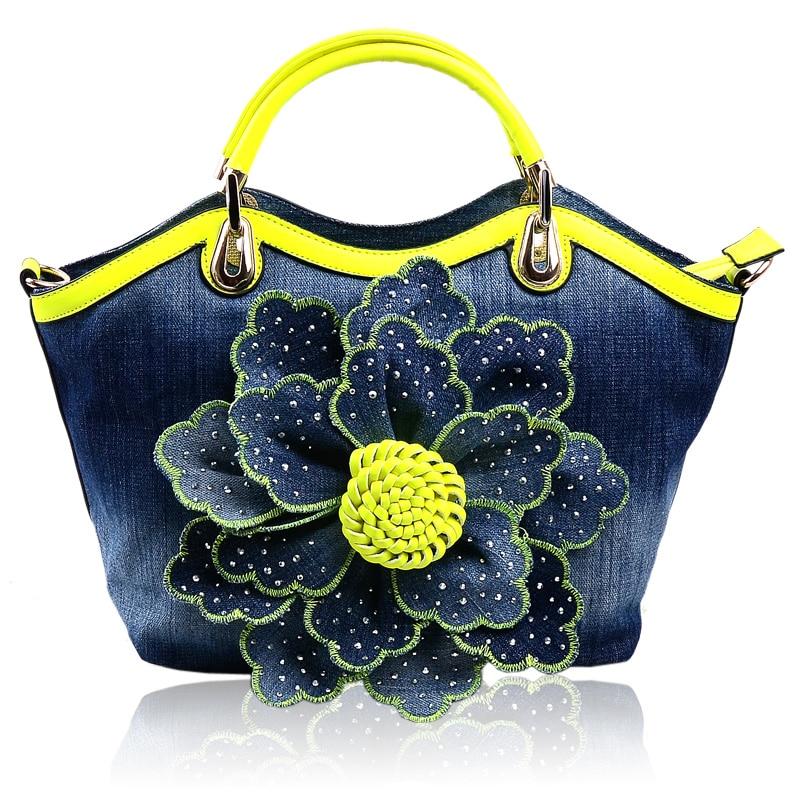 Large Capacity Diamond Flower Decoration Denim Canvas Bag Women Handbag  2016 Female Fashion Shoulder Bag Ladies Crossbody Bag