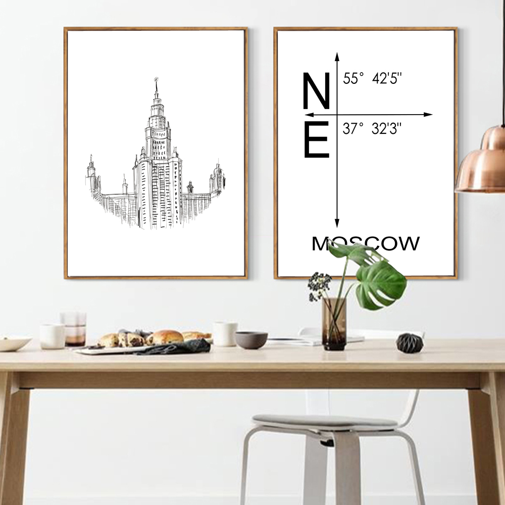 Simple style canvas print painting poster of line drawing world simple style canvas print painting poster of line drawing world famous architectureunframed abstract wall decor for living room in painting calligraphy amipublicfo Image collections