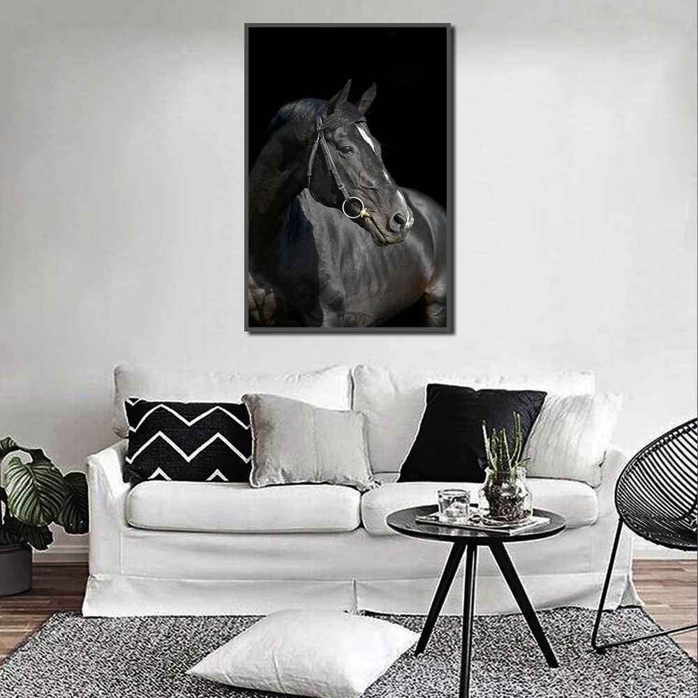 Pintura Animal caballo negro carteles e impresiones imagen de la pared para sala de estar pared arte decoración lienzo pintura