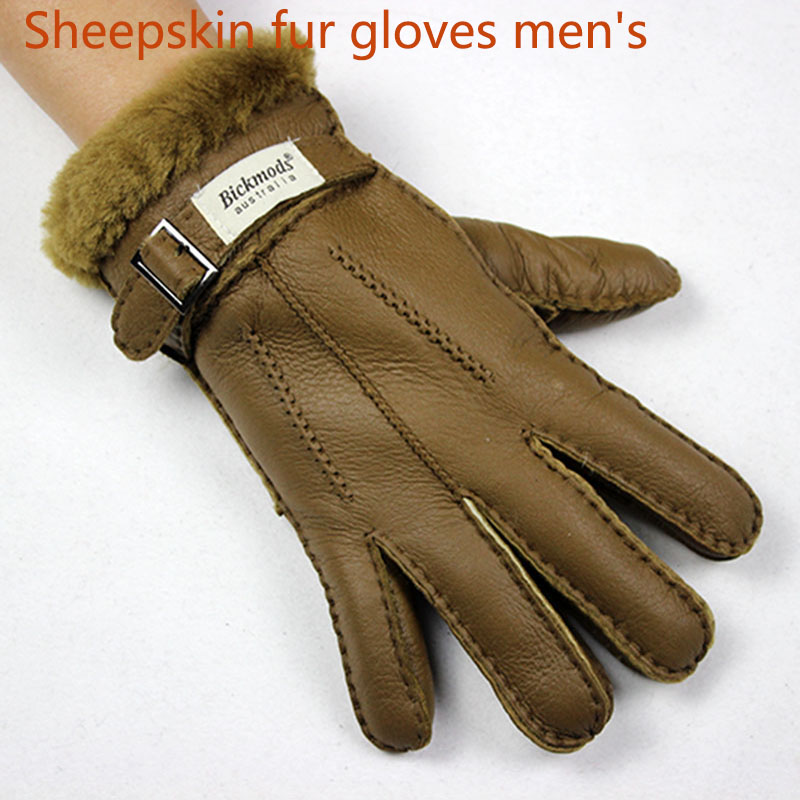 Sheepskin Fur Gloves Men's Thick Winter Warm Large Size Outdoor Windproof Cold Hand Stitching Sewn Leather Finger Gloves