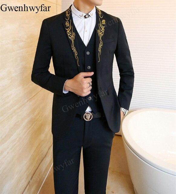 Gwenhwyfar 2018 nuevos hombres vestido real hombre negro trajes de oro  bordado Slim Fit Blazer hombre ea6d6118a50