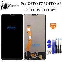 100% testato al 6.23 pollici Nero Per Oppo F7/Per Oppo A3 LCD Full Display Touch Screen Digitizer Assembly di Ricambio strumenti