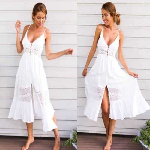 1ed1f929ad07 2018 New Summer Women s White Dress Party Beach Dresses Sundress Maxi Dress