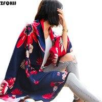 ZFQHJJ 200x70cm Fashion 2017 Luxury Brand Scarf Women Winter Thick Super Large Floral Print Cashmere Pashmina