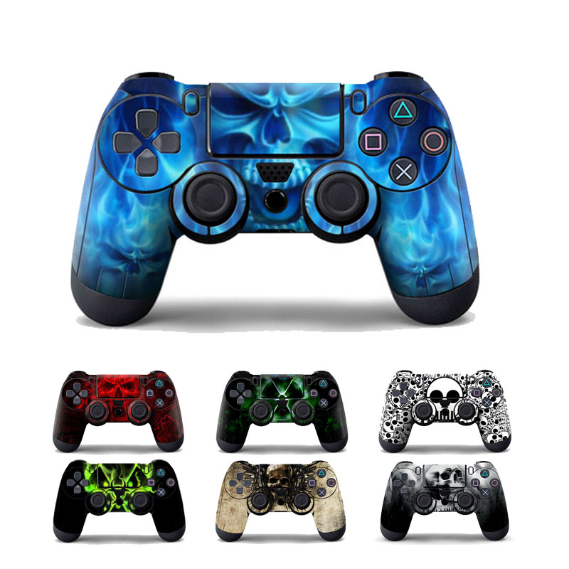 цена Blue Skull Protective Cover Sticker For PS4 Controller Skin For Playstation 4 Decal Accessories