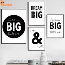 Home Garden - Home Decor - COLORFULBOY Big Dream Black White Art Canvas Painting Modern Minimalism Wall Art Print Poster Kids Room Home Decor Wall Pictures