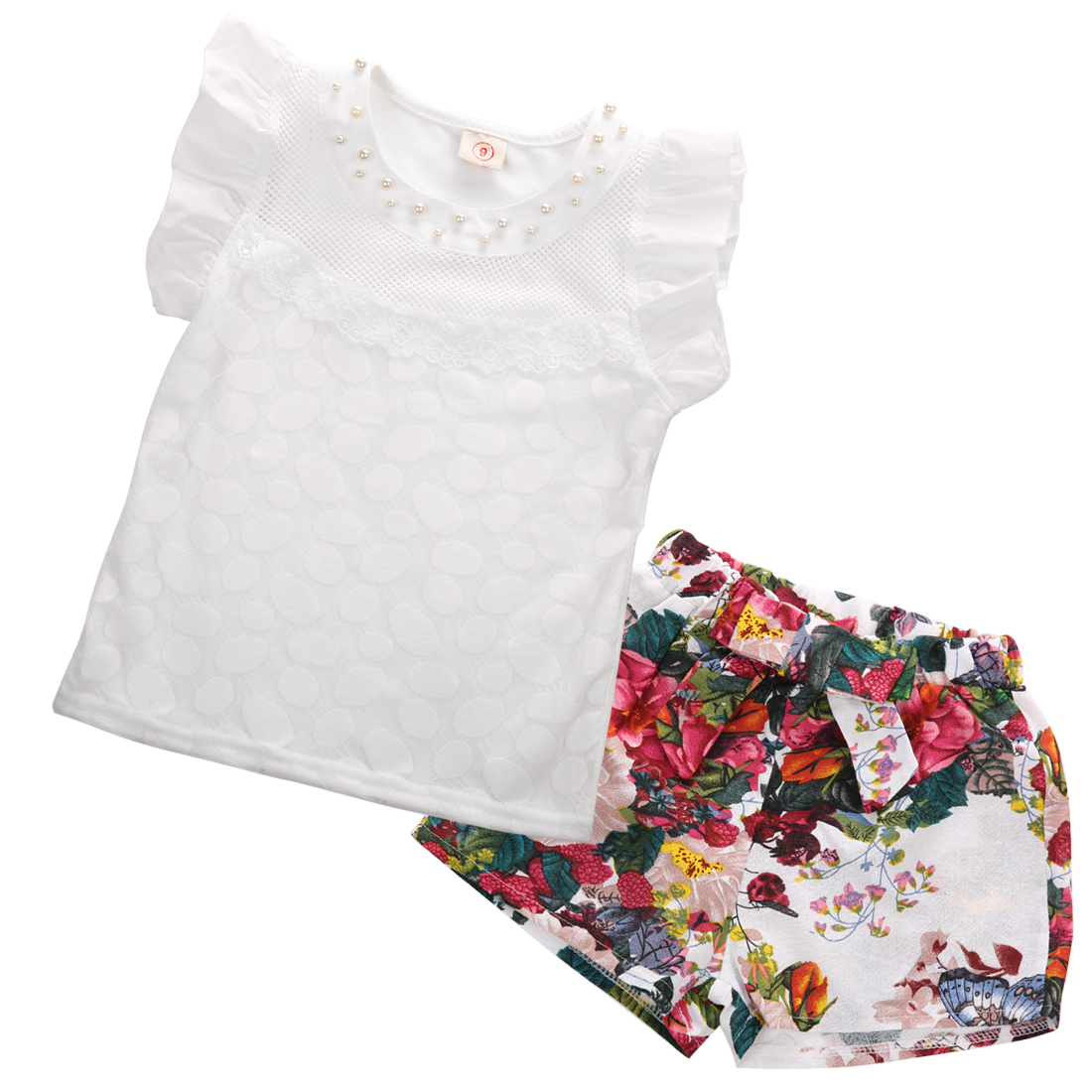 Toddler Kids Baby Girls Outfits Clothes Floral Lace T-shirt Tops+Shorts 2PCS Set