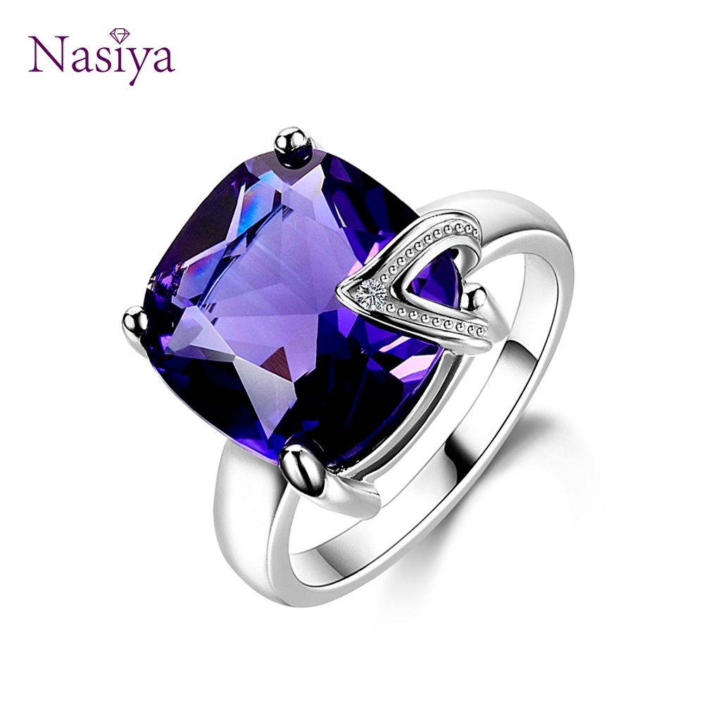 Nasiya Charm Large Stones Created Purple Amethyst Rings 100% Genuine 925 Sterling Silver Women Fashion Jewelry Gift Promotion