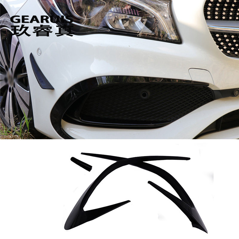 Car styling fog lamps grille slats auto fog lights cover Stickers decoration strips for Mercedes Benz CLA Class C117 Accessories car front fog lamps cover grille slats car fog lights cover decoration strips car styling for mercedes benz e class w213 2016