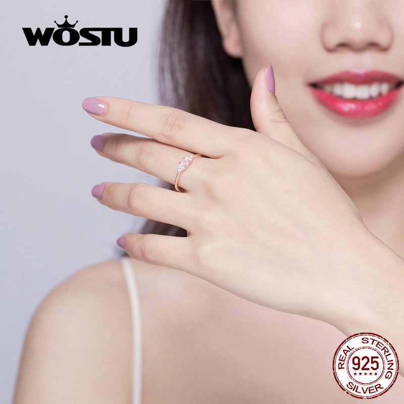 WOSTU Elegant Rose Gold แหวนคริสตัล 100% 925 เงินสเตอร์ลิงสีชมพู OPAL Zircon แหวนสำหรับงานแต่งงานแฟชั่นเครื่องประดับ CQR534