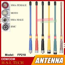 Custom made antena do ręcznego Walkie Talkie BNC SMA-MALE SMA-FEMALE 144 430MHz podwójna szerokopasmowa VHF UHF dwukierunkowa antena radiowa tanie tanio BAOFENG CN (pochodzenie) Przenośne 1 5 km 0 5w FP-210 20 5CM Rubber 2 15 3dBi 50WATTS LESS1 5 34 2g 50OHM BNC SMA TYPE