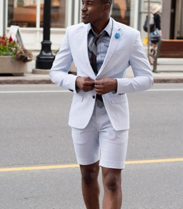 New Elegant Ivory/White Men Suit Short Pants Men Summer Wear Suit Set New Fashion Business Men 2 Pieces(Jacket+Pants)