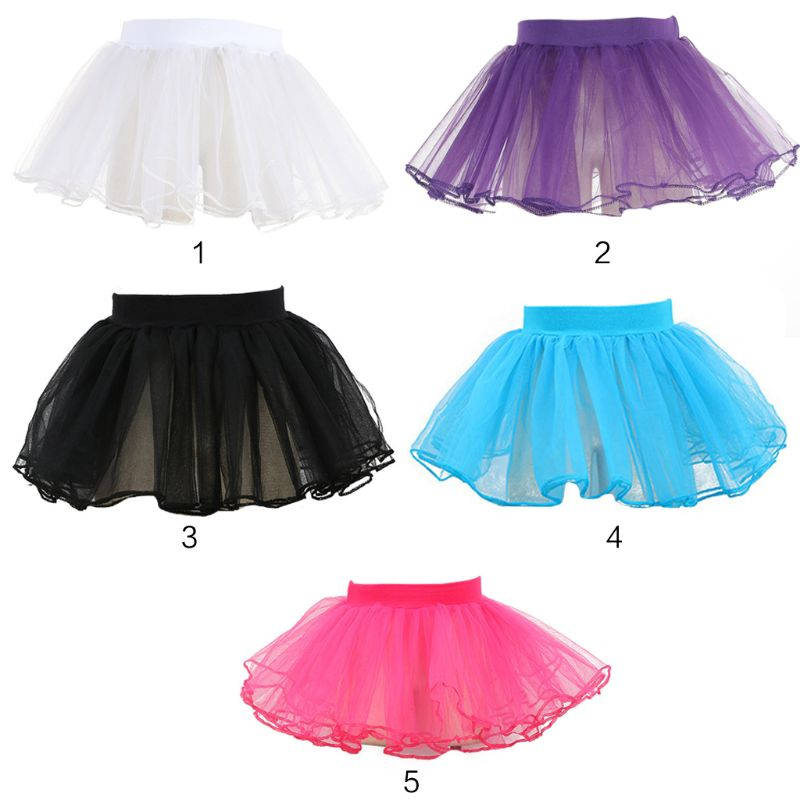 Kid Girl Layered Tulle Ballet Dance Tutu Skirt Ruffled Trim Fluffy Sweet Candy Color Party Costume Princess Pettiskirt 3-8T