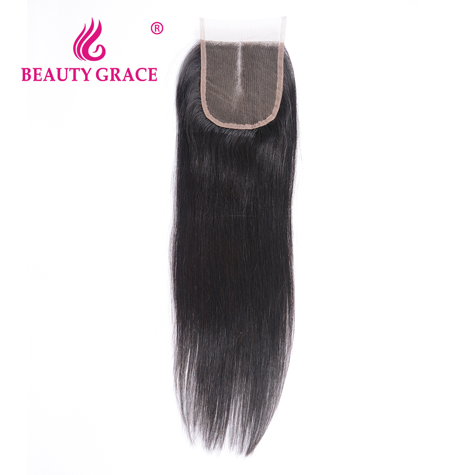 Beauty Grace Brazilian Straight Lace Closure 4x4 Remy 100% Human Hair With Baby Hair Middle Part Top Closures