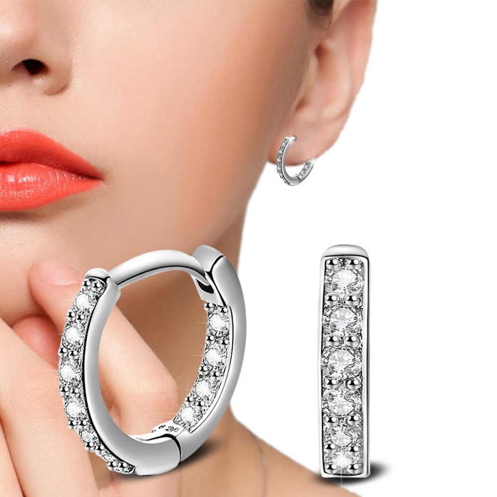 Stud Earrings 925 Sterling Crystal Row Luxury Silver Earrings For Women Earings Fashion Jewelry Female Brinco Earing oorbellen