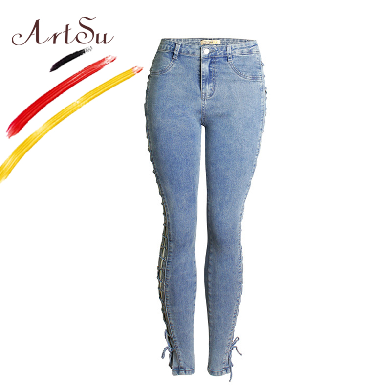 ArtSu 2017 Lace Up Denim High Waist Jeans Europe Elastic Stretch Women Pencil Pants Casual Jenas Pantalon Plus Size ASPA20068 loose lace up casual mens pencil pants